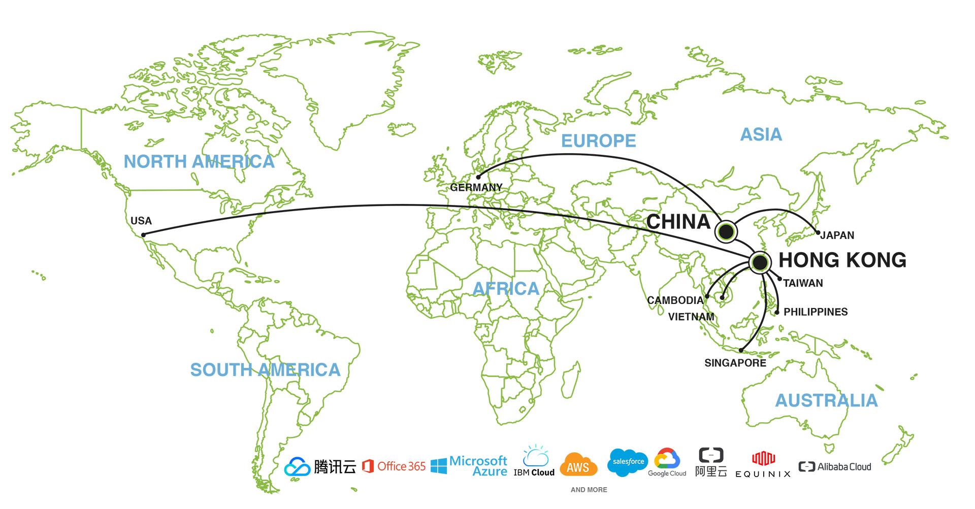 SD-WAN Network Worldwide Nodes | The borderless Connection worldwide